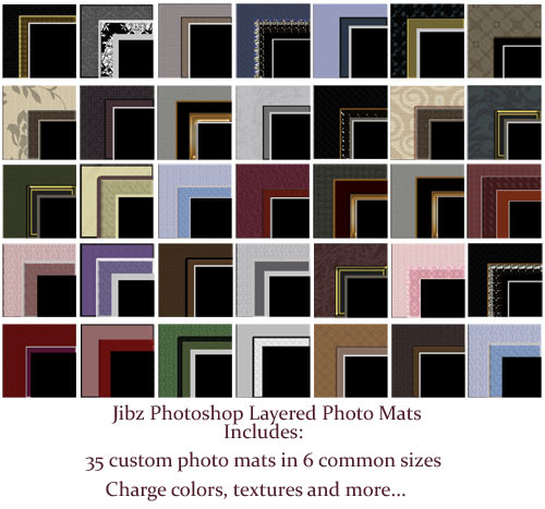 35 custom Photoshop photo mats